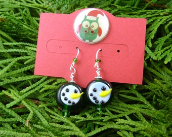 Christmas Snowman Dangle Earrings.  On Handmade Earring Card. with My Handmade Button. Green Glass or Lampwork Snowman Earrings