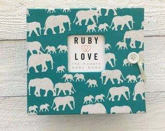 Teal Elephant Silhouette | BABY BOOK