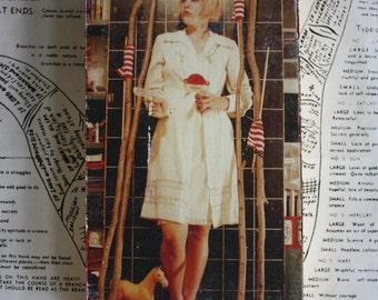 Blond, Woman, Portrait, 4 x 6, Original, Art, Mixed Media, Miniature, Flags, Horse, Dress