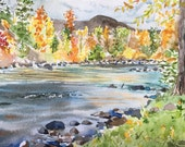 September on the San Juan River Original Watercolor, not a print, fall colors