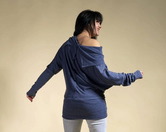 Pullover naked back, tunic blue pullover, dress blue pullover