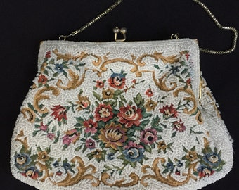 Vintage Handmade Beaded Purse with Embroidery Floral Motif