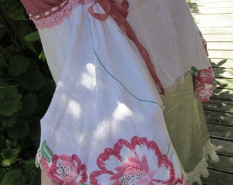 GARAGE SALE..! shabby chic..  vintage Kitty.. dusky rose, ivory linen.. cami.. lace, roses, ribbon, vintage embroidery.. ooak.. small