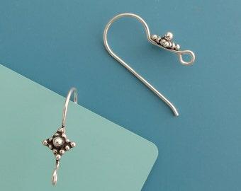 10 pcs (5 pairs) 20 gauge bali Sterling Silver Ear Wires, hook (EBS105)