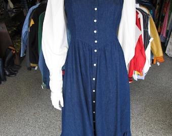 Vtg 70s 80s Gunne Sax Denim and Lace Prairie Dress sz 9