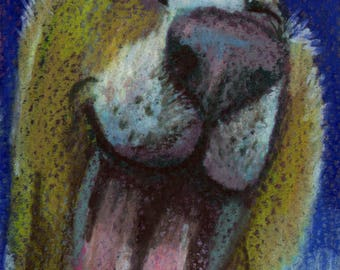 original art  aceo drawing laughing dog golden retriever
