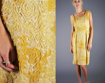 Bombshell Soutache Wiggle Dress Yellow Sequin Gold Dress Perfect Party or Cocktail Dress Size Small