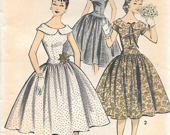Advance 7964 1950s Drop Waist Party Dress Vintage Sewing Pattern Bust 34 Sleeveless Full Skirt Wide Neckline