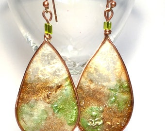 Hand Painted Rice Paper and Copper Woodland Teardrop Handmade Earrings