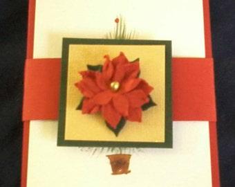 Gift Card Holder, Money Holder, Recycled Paper Craft, Money Envelope, Gift Card Packaging, Gift Envelope, Poinsettia, Christmas Tree