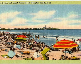 Vintage New Hampshire Postcard - Hampton Beach and Great Boars Head (Unused)