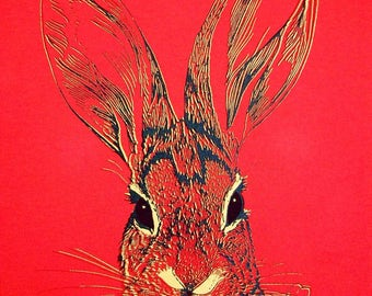 Brush Rabbit two color screenprint on American Apparel unisex red fine Jersey crew neck - XS, S, M, L, XL