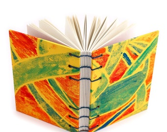 Abstract Journal in Yellow, Green and Red - handmade by Ruth Bleakley