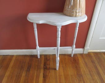 Upcycled Vintage Table Distressed White Half Moon