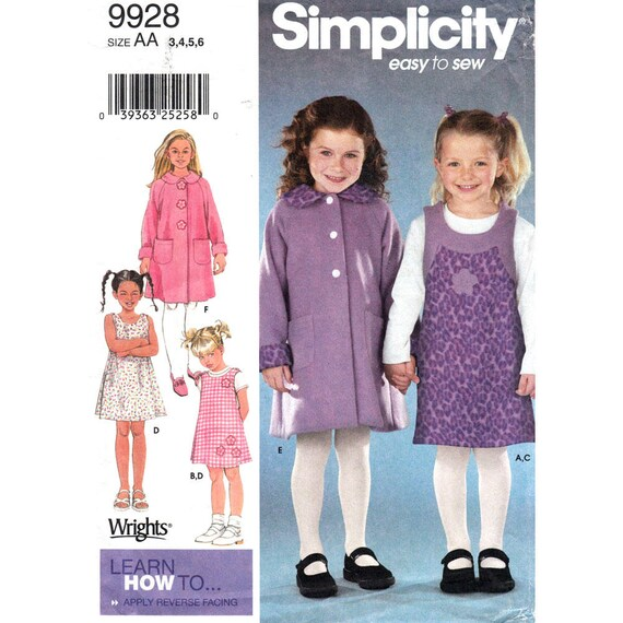 Girls Sewing Pattern Coat Jumper Knit Top Simplicity 9928 Button Front Raglan Jacket Size 3 4 5 6