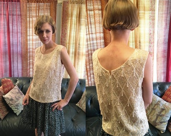 1960s Beaded and sequinned sleeveless sweater shell by Stephen Chu