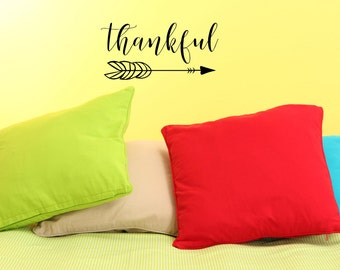 Thankful with Arrow - Vinyl Decals -Stickers - Wall Decor - Decals - Arrows - Thankful - Home Decor - Vinyl Stickers