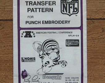 Vintage 80s pretty punch embroidery transfer pattern NFLH-04 Bengals NFL  pkg sealed nip unused