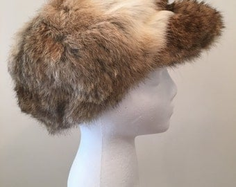 Vintage Newsboy Hat - Rabbit Fur - Multi Color Fur Hat - Brown Taupe White Gray - Fun Quirky Accessory - Fun Fur Hat - Cap Beret -