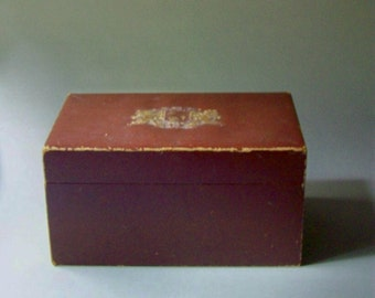 Vintage Box w/ Embossed Coat of Arms / Standing Lions and Shield Emblem