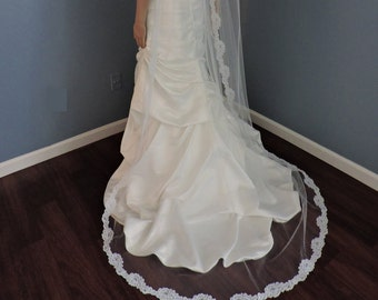 Chapel Off White Mantilla Bridal Veil with Alencon Style Re-embroidered 2 inch Lace, Wedding Veil