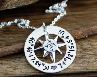 North Star Necklace, Coordinates Necklace, Personalized Compass Necklace, Latitude Longitude Necklace, Travel Necklace, Journey Necklace