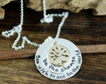 Graduation Necklace, Gift for Graduate, Be the Change you wish to See in the World, Personalized Tree of Life Necklace, Family Tree Necklace
