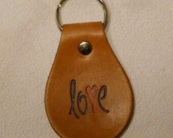 Love Leather Keychain