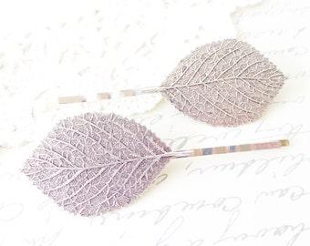 Silver Leaf Bobby Pin Set - Aspen Leaf Hair Pins - Birch Leaf Bobby Pin - Woodland Leaf Hair Pins - Wedding Hair Accessory - Bridal Hair