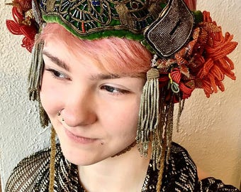 Mucha inspired Bohemian Bridal headdress