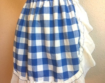 Vintage BLUE And White GINGHAM Ruffle Apron