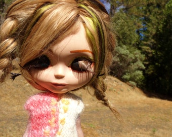 Hand Spun, Dyed, Knit, and Embroidered Sweater Vest for Blythe Orange Blossom