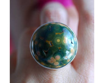 Dollybird Low Tide Ring Ocean Jasper