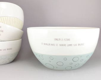 Ceramic serving bowl, large fruit bowl, modern salad bowl, prep bowl. White and turquoise with poetry, french quote.