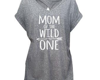 Mom of the wild one Women Cross Back Oversized T-Shirt- 3141