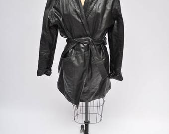 vintage leather coat black oversized trench michael michelle large 1980s retro 80s wrap belted