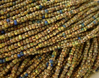 "Picasso Seed Beads, 10/0 Czech Seed Beads, Aged Picasso- Striped Mix (2/19.5"") #203"