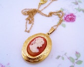 Gold cameo locket necklace. Simple gold jewelry. Cameo jewelry. Gold necklace. Gift for her. Gift for bride.