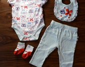 Butterfly 3 piece matching set onesie pants bib 9 months 9m NO SOCKS INCLUDED