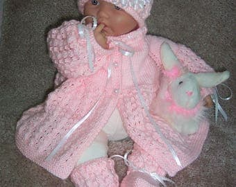 Handmade baby girls pink Sweater hat  booties set Layette- Ribbon, Lace flower hat Trim 0-12M-Lovely Baby Gift or Photos--READY TO SHIP