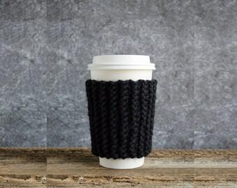 Black Coffee Cozy, Cup Cozy, Coffee Mug Cozy, Chunky Knit Coffee Sleeve, Coffee Cup Cozy, Coffee Cup Sleeve, Cup Warmer, Gifts For Him