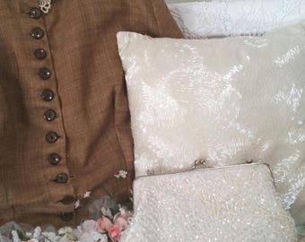 ivory beaded wedding bag, ivory bridal purse, white vintage beaded bag, vintage sequin bag, ivory wedding