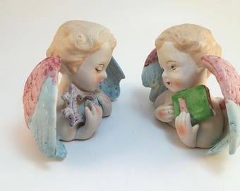 Pair of Ceramic Angel Figurines, Made in Japan, Curved Wings , Angel with book, Sleepy Angel, Twin Angels, Vintage Angel Deco, Angel Head