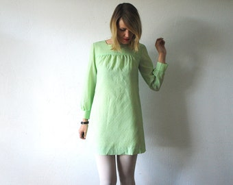 60s mini dress. pastel lime shift dress. babydoll dress. 60s go go dress - xs, small