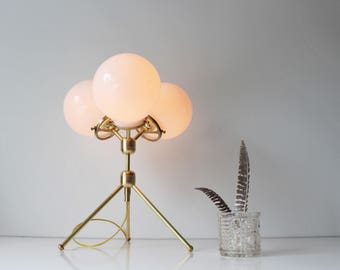 Brass Table Lamp, Tripod Desk Lamp, 3 White Glass Globe Shades, Modern BootsNGus Designer Lighting & Home Decor