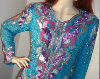 1940s Style Vintage Art Deco Heavily Beaded Sequined Blouse Size M Made in India