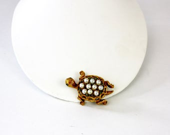 Vintage 60s Turtle Brooch Antique Goldtone Metal w Faux Pearls & Rhinestones