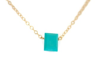 turquoise necklace, dainty necklace, dainty gold necklace,  small necklace, blue turquoise, rectangle stone, emerald cut, gemstone necklace