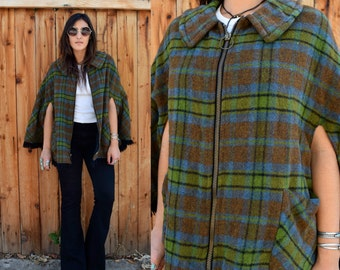 Vintage 60s PLAID CAPE with FRINGE