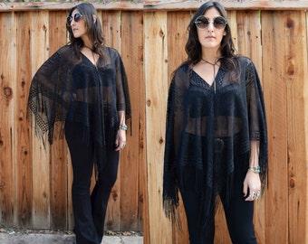 Vintage 90s Sheer Black Lace FRINGE PONCHO One Size
